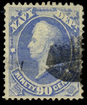 Prices of US Stamp Scott Catalogue # O45 - 90c 1873 Navy Official. Daniel Kelleher Auctions, Dec 2013, Sale 640, Lot 611