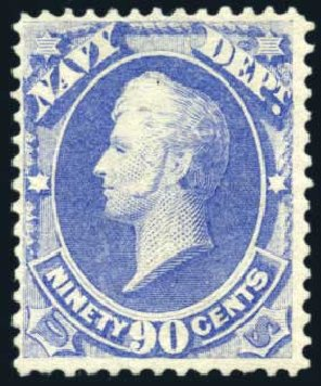 US Stamp Price Scott # O45: 90c 1873 Navy Official. Harmer-Schau Auction Galleries, Feb 2010, Sale 84, Lot 1824