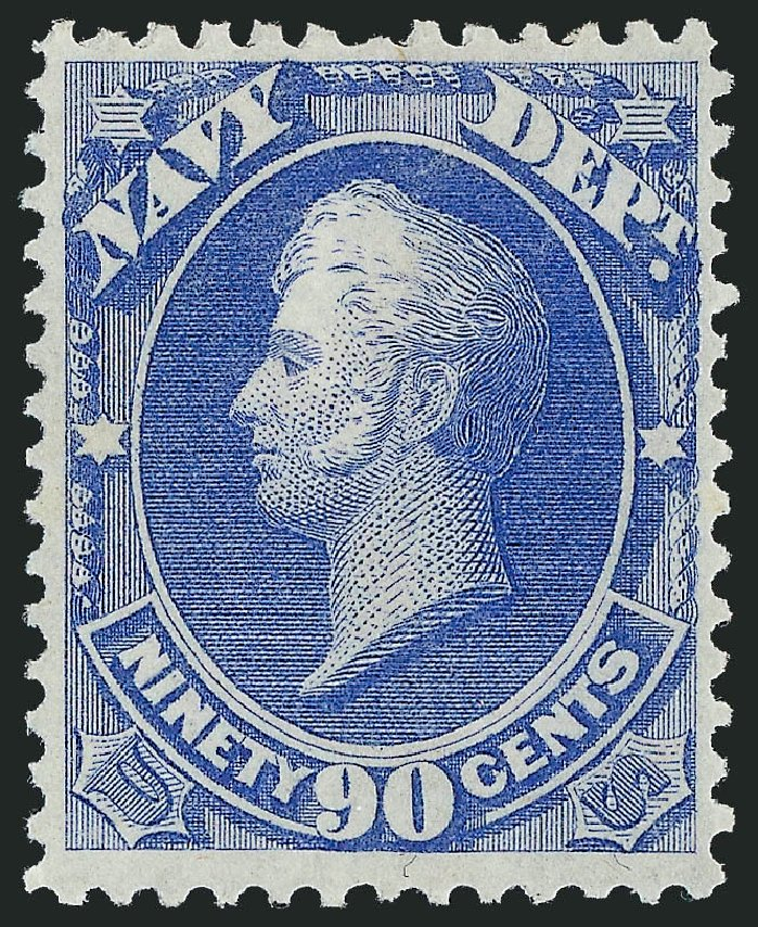 Cost of US Stamps Scott Cat. #O45 - 90c 1873 Navy Official. Robert Siegel Auction Galleries, Nov 2013, Sale 1061, Lot 4164