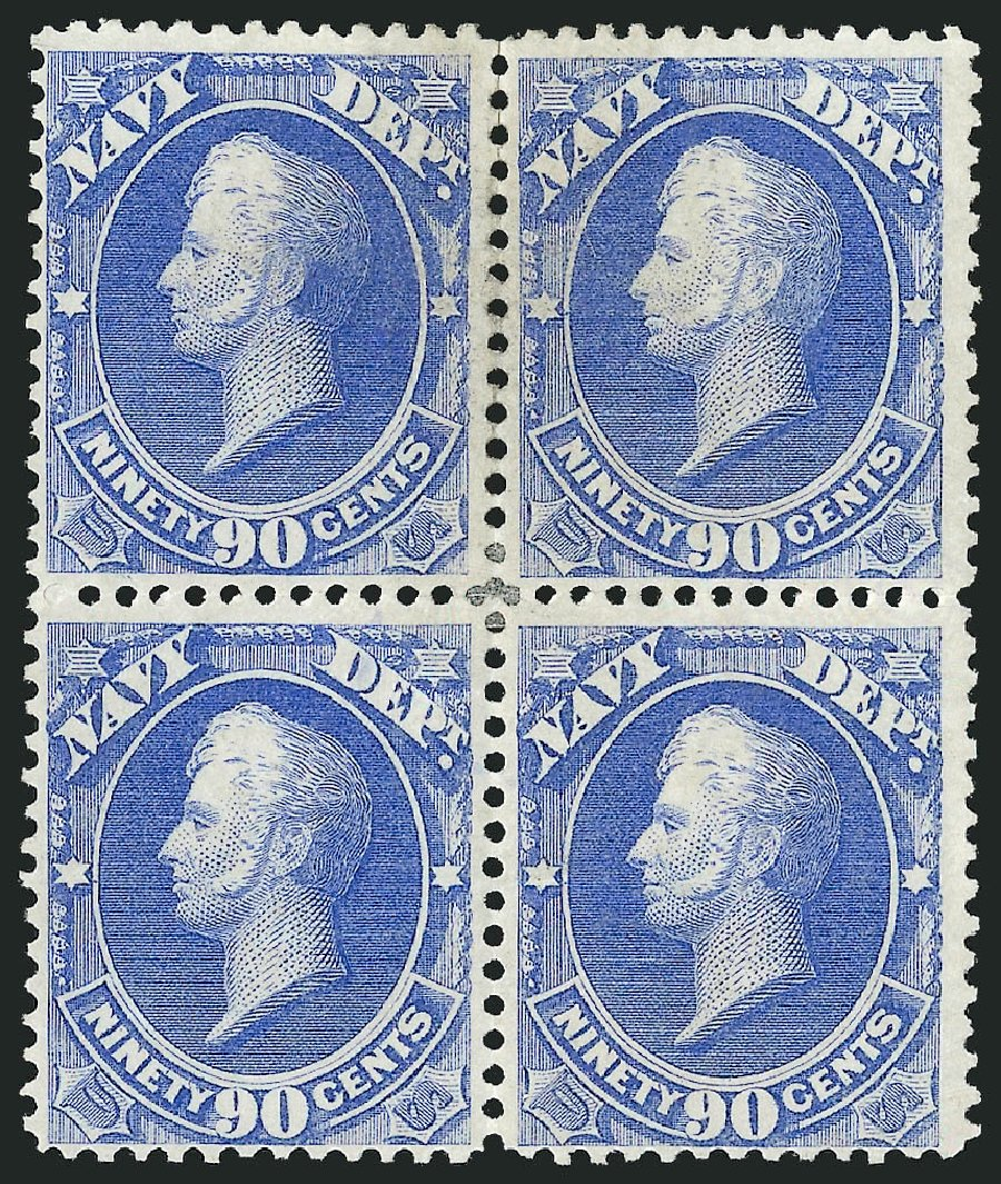 Cost of US Stamps Scott Catalogue # O45 - 1873 90c Navy Official. Robert Siegel Auction Galleries, Nov 2014, Sale 1085, Lot 4074
