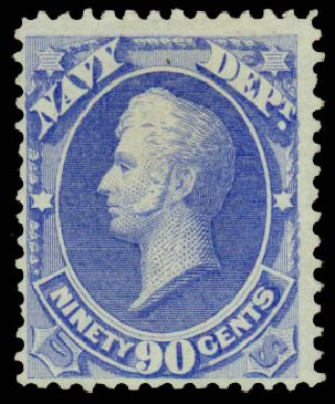 US Stamps Value Scott Catalog # O45 - 1873 90c Navy Official. Daniel Kelleher Auctions, Sep 2013, Sale 639, Lot 3805