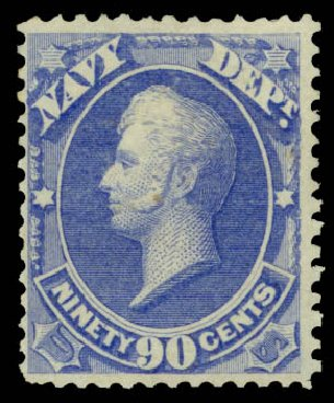 Price of US Stamp Scott Catalog O45 - 1873 90c Navy Official. Daniel Kelleher Auctions, May 2014, Sale 652, Lot 903
