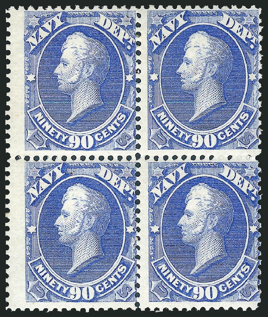 US Stamp Values Scott Cat. O45: 1873 90c Navy Official. Robert Siegel Auction Galleries, Jun 2012, Sale 1026, Lot 1543