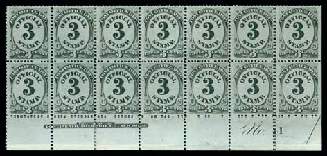 Value of US Stamps Scott Catalog # O49 - 3c 1873 Post Office Official. Matthew Bennett International, Dec 2007, Sale 325, Lot 2504