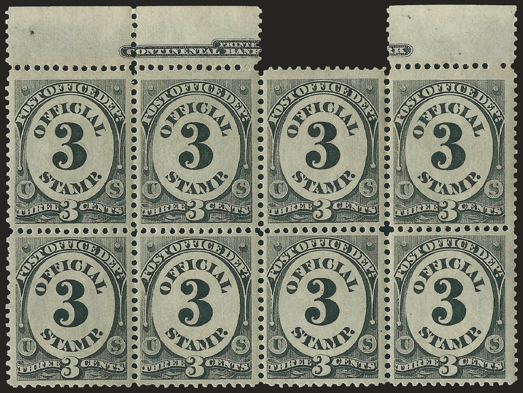 Values of US Stamp Scott Catalog # O49: 1873 3c Post Office Official. Robert Siegel Auction Galleries, Jun 2009, Sale 975, Lot 2232
