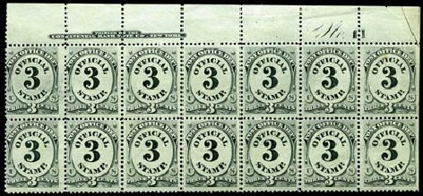 US Stamps Value Scott Catalog #O49: 1873 3c Post Office Official. Harmer-Schau Auction Galleries, Feb 2012, Sale 92, Lot 1333