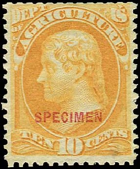 US Stamp Value Scott #O5: 10c 1873 Agriculture Official. Regency-Superior, Jan 2015, Sale 109, Lot 1538