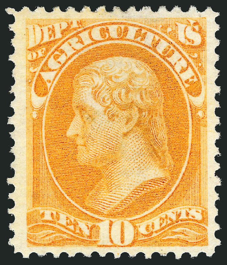 Value of US Stamps Scott Cat. #O5: 10c 1873 Agriculture Official. Robert Siegel Auction Galleries, Oct 2012, Sale 1033, Lot 4298