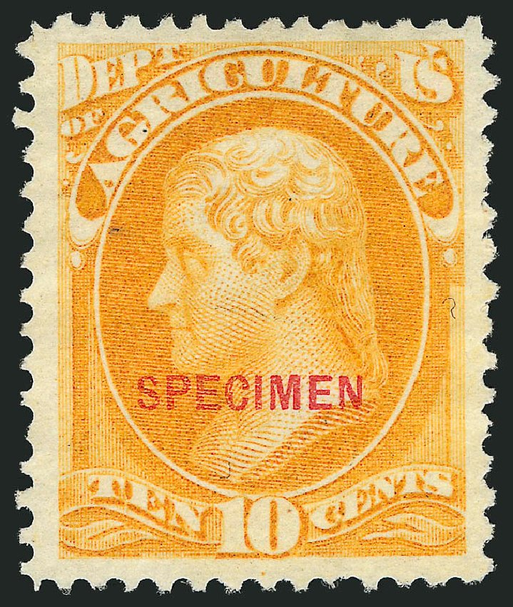 US Stamp Values Scott Catalog O5 - 1873 10c Agriculture Official. Robert Siegel Auction Galleries, Mar 2015, Sale 1095, Lot 508