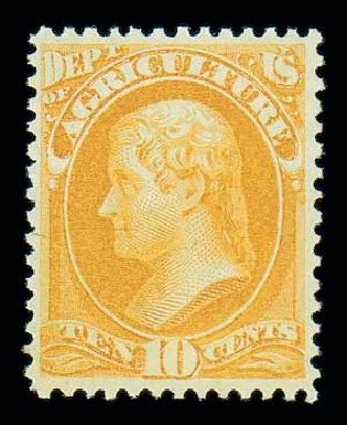 Price of US Stamps Scott # O5 - 1873 10c Agriculture Official. Matthew Bennett International, Oct 2007, Sale 320, Lot 629