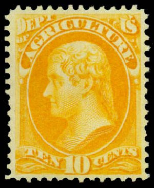Costs of US Stamps Scott Catalog # O5: 1873 10c Agriculture Official. Daniel Kelleher Auctions, Sep 2013, Sale 639, Lot 469