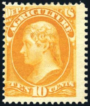US Stamp Values Scott # O5: 1873 10c Agriculture Official. Harmer-Schau Auction Galleries, Feb 2010, Sale 84, Lot 1810