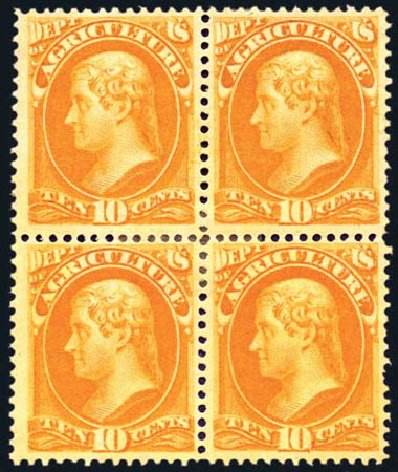 Value of US Stamps Scott Cat. # O5 - 1873 10c Agriculture Official. Harmer-Schau Auction Galleries, Aug 2011, Sale 90, Lot 1700
