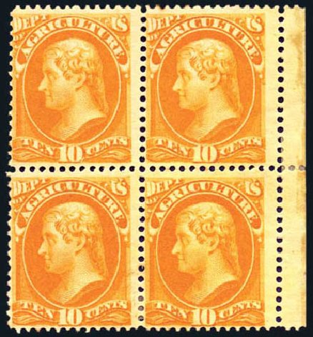 Values of US Stamp Scott # O5 - 1873 10c Agriculture Official. Harmer-Schau Auction Galleries, Aug 2011, Sale 90, Lot 1701