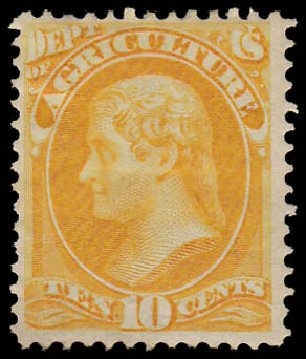 US Stamp Prices Scott Cat. #O5: 1873 10c Agriculture Official. Daniel Kelleher Auctions, Aug 2015, Sale 672, Lot 2974
