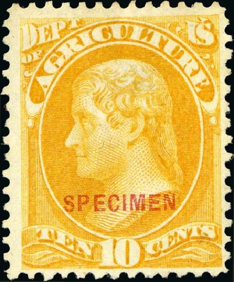 Price of US Stamp Scott Catalog #O5 - 1873 10c Agriculture Official. Spink Shreves Galleries, Jan 2015, Sale 150, Lot 245