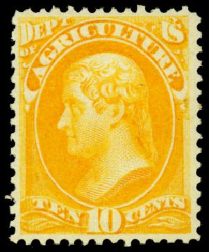 Prices of US Stamps Scott Cat. # O5 - 1873 10c Agriculture Official. Daniel Kelleher Auctions, Dec 2013, Sale 640, Lot 586