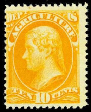 Value of US Stamp Scott Catalog # O5 - 1873 10c Agriculture Official. Daniel Kelleher Auctions, Oct 2014, Sale 660, Lot 2546