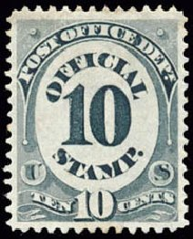 US Stamp Value Scott Catalogue #O51: 1873 10c Post Office Official. Schuyler J. Rumsey Philatelic Auctions, Apr 2015, Sale 60, Lot 2571