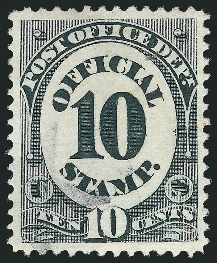 Value of US Stamp Scott Cat. #O51: 10c 1873 Post Office Official. Robert Siegel Auction Galleries, Oct 2012, Sale 1032, Lot 3673