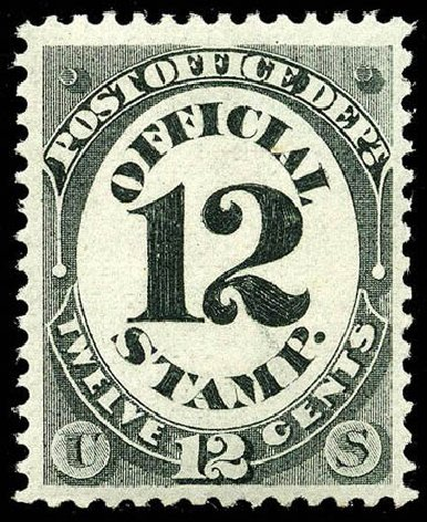 US Stamps Price Scott Cat. #O52 - 1873 12c Post Office Official. Matthew Bennett International, Apr 2008, Sale 326, Lot 684