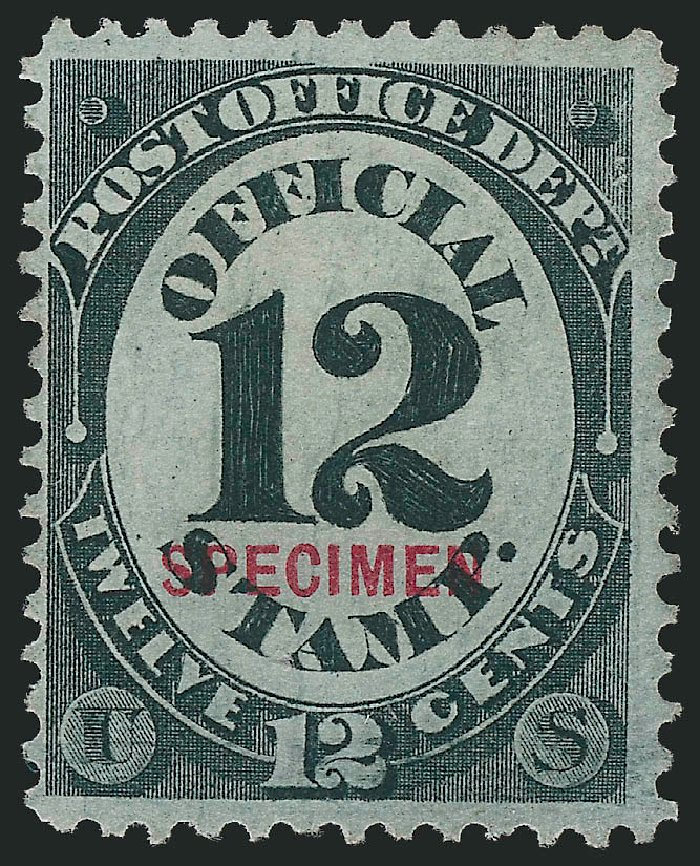 Price of US Stamp Scott Cat. O52: 1873 12c Post Office Official. Robert Siegel Auction Galleries, Oct 2014, Sale 1082, Lot 515