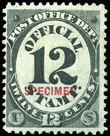 Value of US Stamp Scott Catalog # O52 - 1873 12c Post Office Official. Matthew Bennett International, Sep 2011, Sale 338, Lot 2053