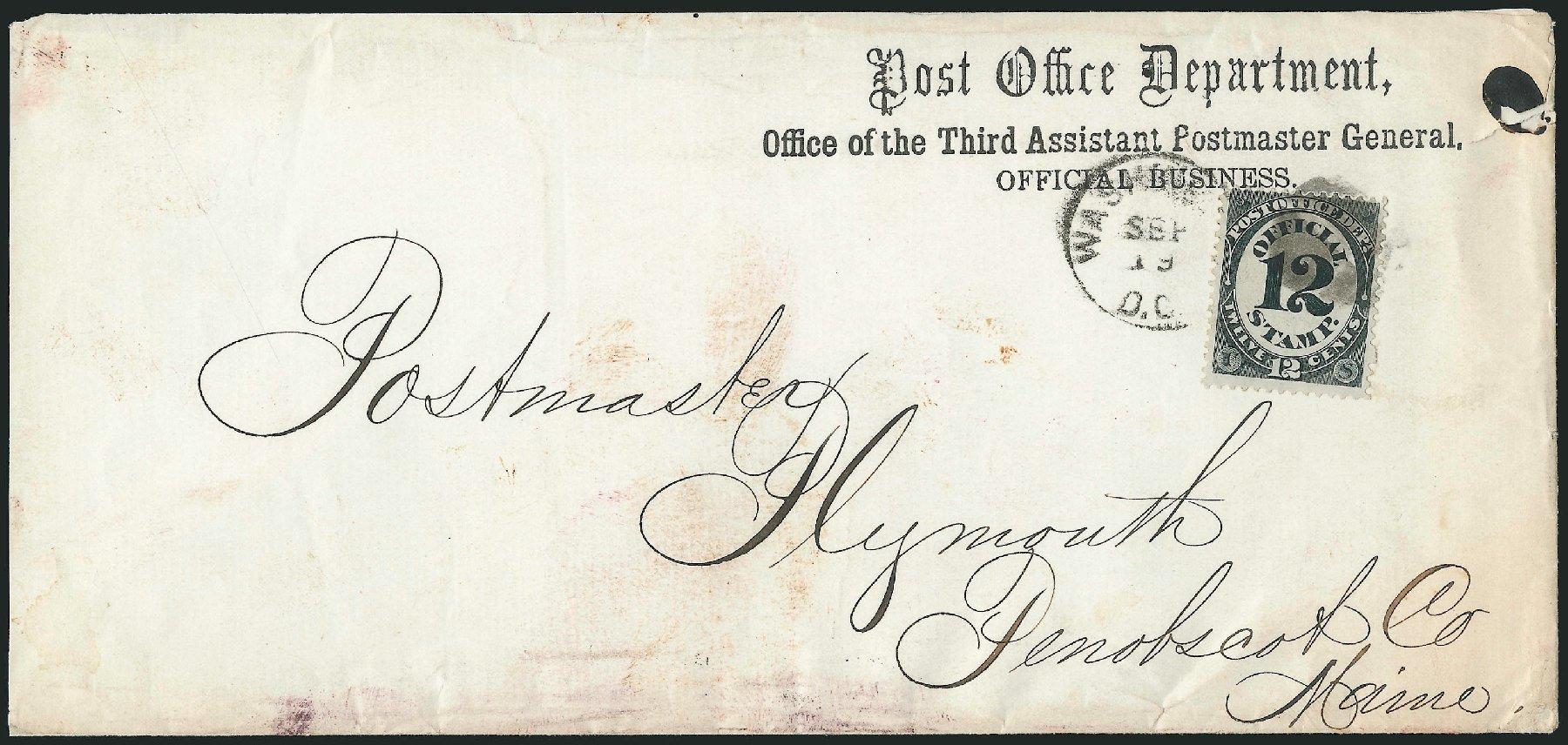 US Stamps Price Scott Cat. # O52: 1873 12c Post Office Official. Robert Siegel Auction Galleries, Nov 2014, Sale 1085, Lot 4086