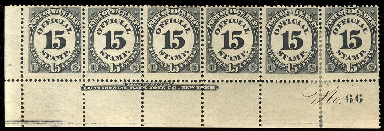 US Stamp Price Scott # O53 - 15c 1873 Post Office Official. Cherrystone Auctions, Feb 2011, Sale 201102, Lot 129