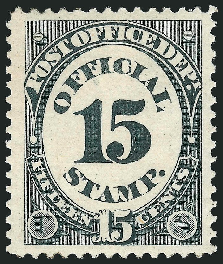 US Stamp Prices Scott Cat. O53 - 15c 1873 Post Office Official. Robert Siegel Auction Galleries, Nov 2014, Sale 1085, Lot 4079