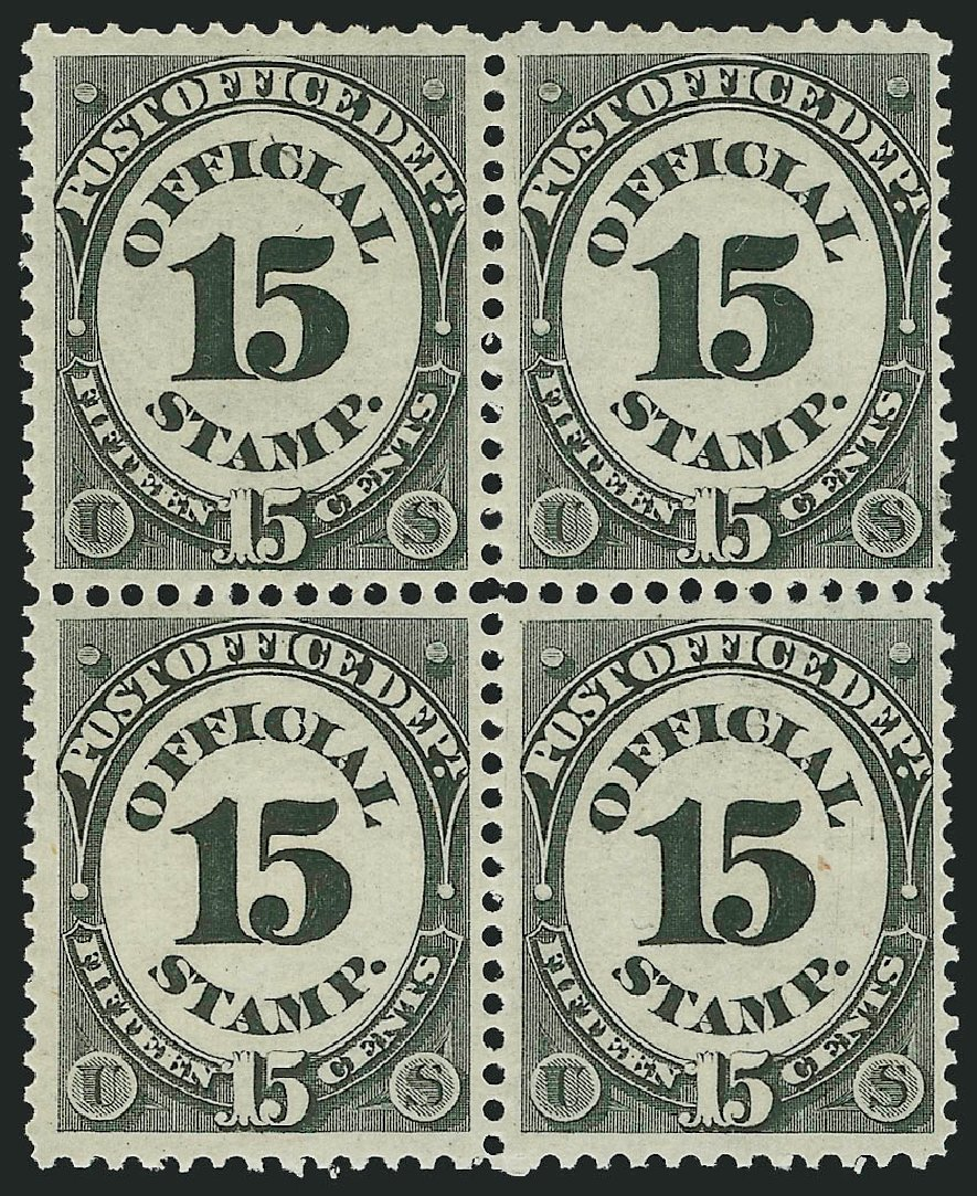 Value of US Stamps Scott Cat. # O53 - 1873 15c Post Office Official. Robert Siegel Auction Galleries, Nov 2014, Sale 1085, Lot 4080