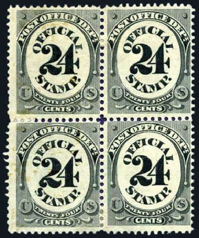 US Stamps Values Scott Catalogue # O54: 24c 1873 Post Office Official. Harmer-Schau Auction Galleries, Aug 2011, Sale 90, Lot 1734
