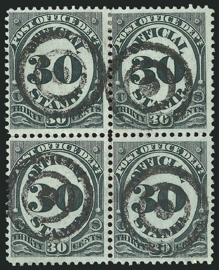 Costs of US Stamp Scott Catalog # O55 - 30c 1873 Post Office Official. Robert Siegel Auction Galleries, Nov 2014, Sale 1085, Lot 4082
