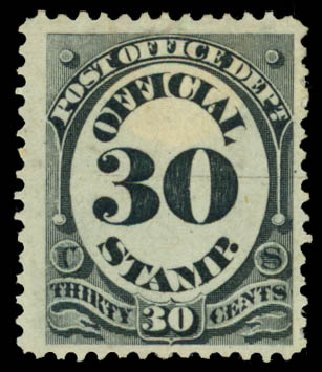 Price of US Stamps Scott O55 - 1873 30c Post Office Official. Daniel Kelleher Auctions, Jan 2015, Sale 663, Lot 2156