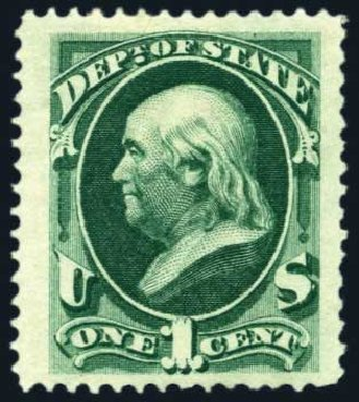 US Stamp Prices Scott Cat. O57: 1873 1c State Official. Harmer-Schau Auction Galleries, Aug 2011, Sale 90, Lot 1737