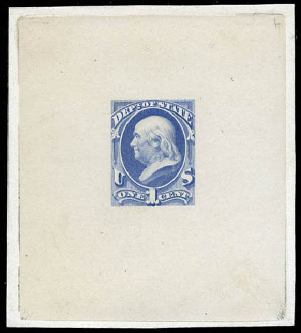 Costs of US Stamp Scott # O57 - 1c 1873 State Official. Matthew Bennett International, Mar 2012, Sale 344, Lot 4819