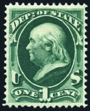 Value of US Stamp Scott Cat. # O57: 1873 1c State Official. Harmer-Schau Auction Galleries, Jun 2008, Sale 78, Lot 1749