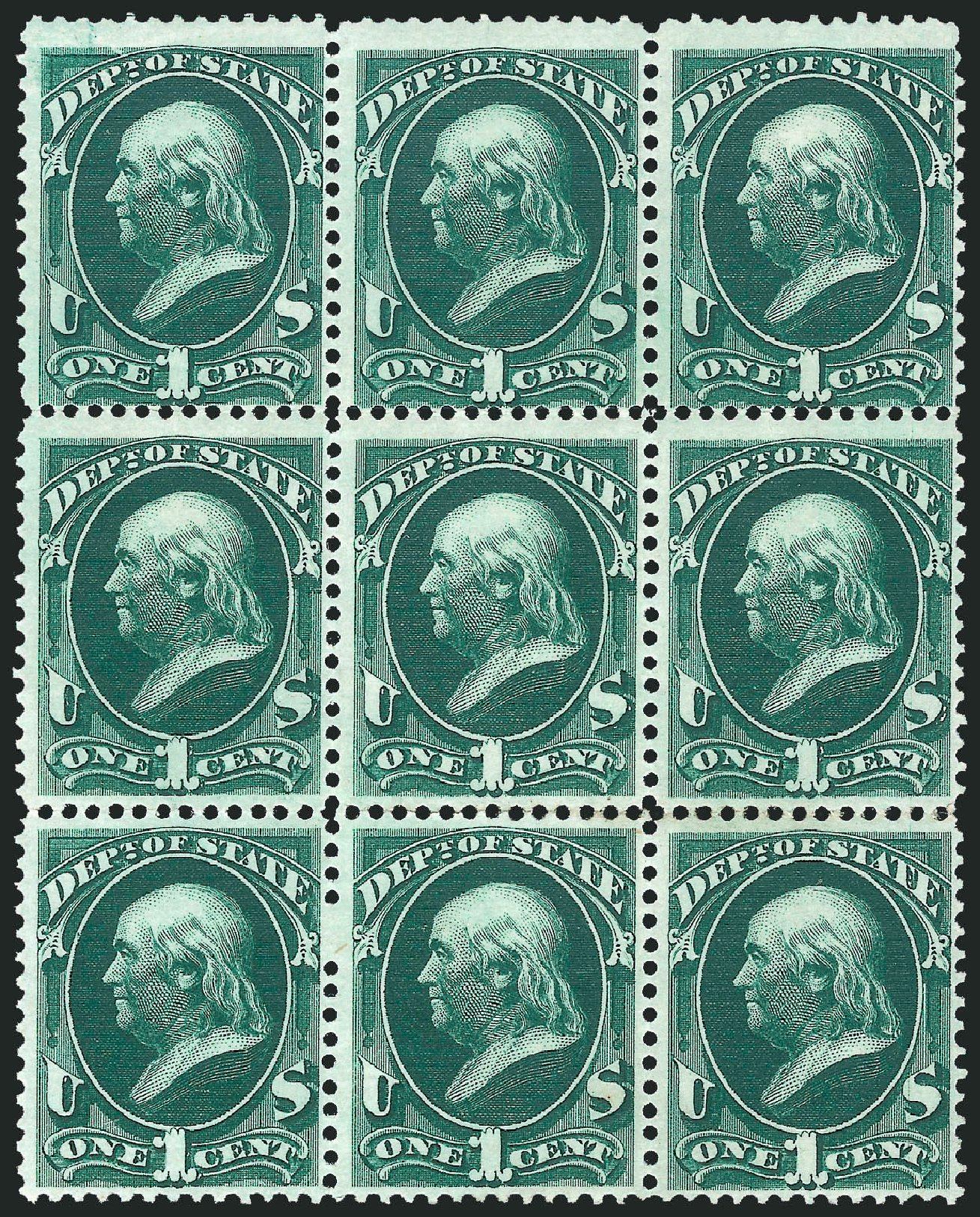 US Stamps Values Scott Catalogue O57 - 1873 1c State Official. Robert Siegel Auction Galleries, Nov 2014, Sale 1085, Lot 4089