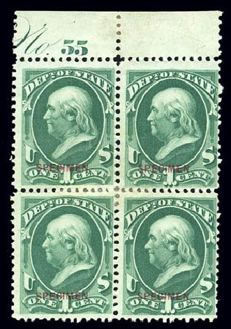 Costs of US Stamp Scott Cat. O57 - 1c 1873 State Official. Matthew Bennett International, Sep 2010, Sale 331, Lot 971