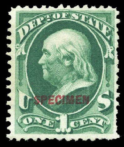Values of US Stamp Scott Catalog # O57 - 1c 1873 State Official. Matthew Bennett International, Mar 2011, Sale 336, Lot 1411