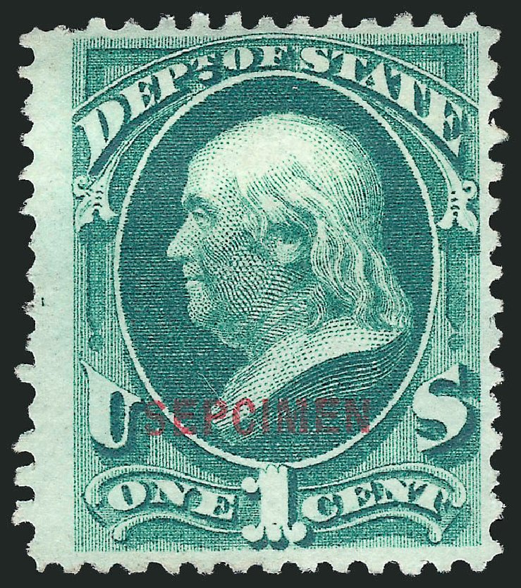 US Stamps Prices Scott Cat. #O57: 1c 1873 State Official. Robert Siegel Auction Galleries, Mar 2015, Sale 1095, Lot 621