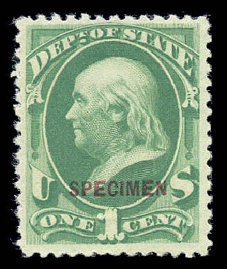 Prices of US Stamps Scott Catalog O57 - 1873 1c State Official. Matthew Bennett International, Sep 2010, Sale 333, Lot 4012