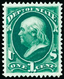 Prices of US Stamp Scott Catalog #O57 - 1c 1873 State Official. Schuyler J. Rumsey Philatelic Auctions, Apr 2015, Sale 60, Lot 2572