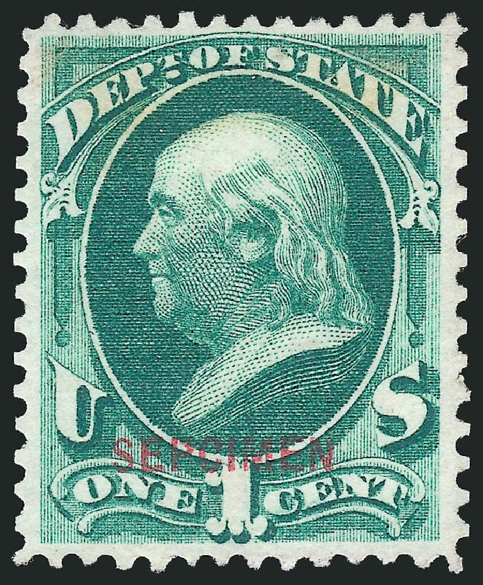US Stamp Values Scott Catalogue #O57: 1873 1c State Official. Robert Siegel Auction Galleries, Mar 2015, Sale 1095, Lot 622