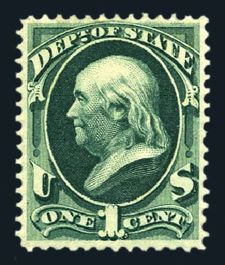 US Stamps Values Scott Catalog # O57: 1c 1873 State Official. Harmer-Schau Auction Galleries, Aug 2015, Sale 106, Lot 2153