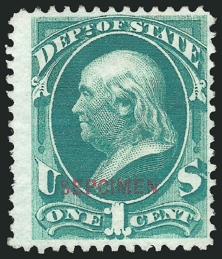 Costs of US Stamp Scott Cat. # O57: 1c 1873 State Official. Robert Siegel Auction Galleries, Mar 2015, Sale 1095, Lot 623