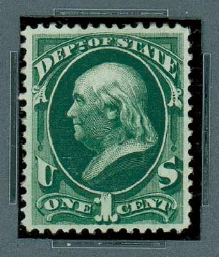Price of US Stamp Scott #O57: 1873 1c State Official. Matthew Bennett International, Oct 2007, Sale 322, Lot 2316