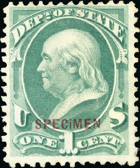 Value of US Stamp Scott Catalogue #O57: 1873 1c State Official. Spink Shreves Galleries, Jan 2015, Sale 150, Lot 256