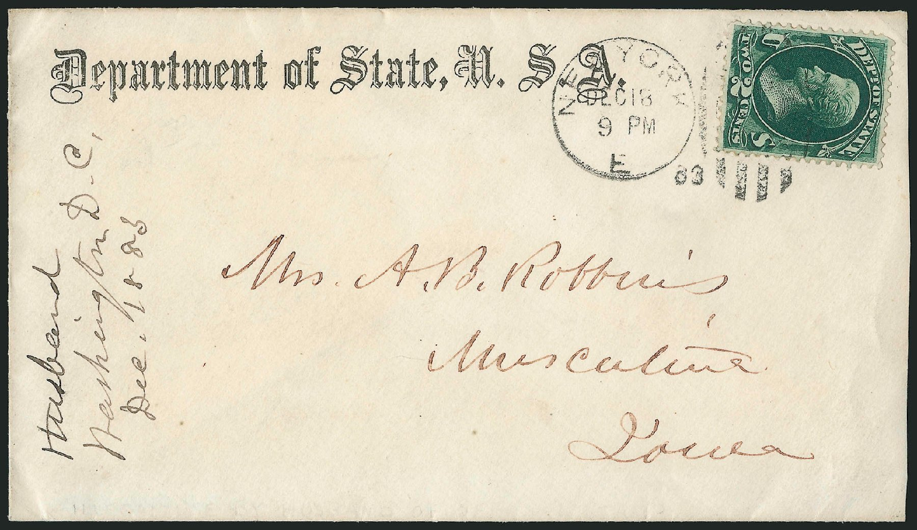 US Stamps Prices Scott Catalog O58 - 2c 1873 State Official. Robert Siegel Auction Galleries, Nov 2014, Sale 1085, Lot 4109
