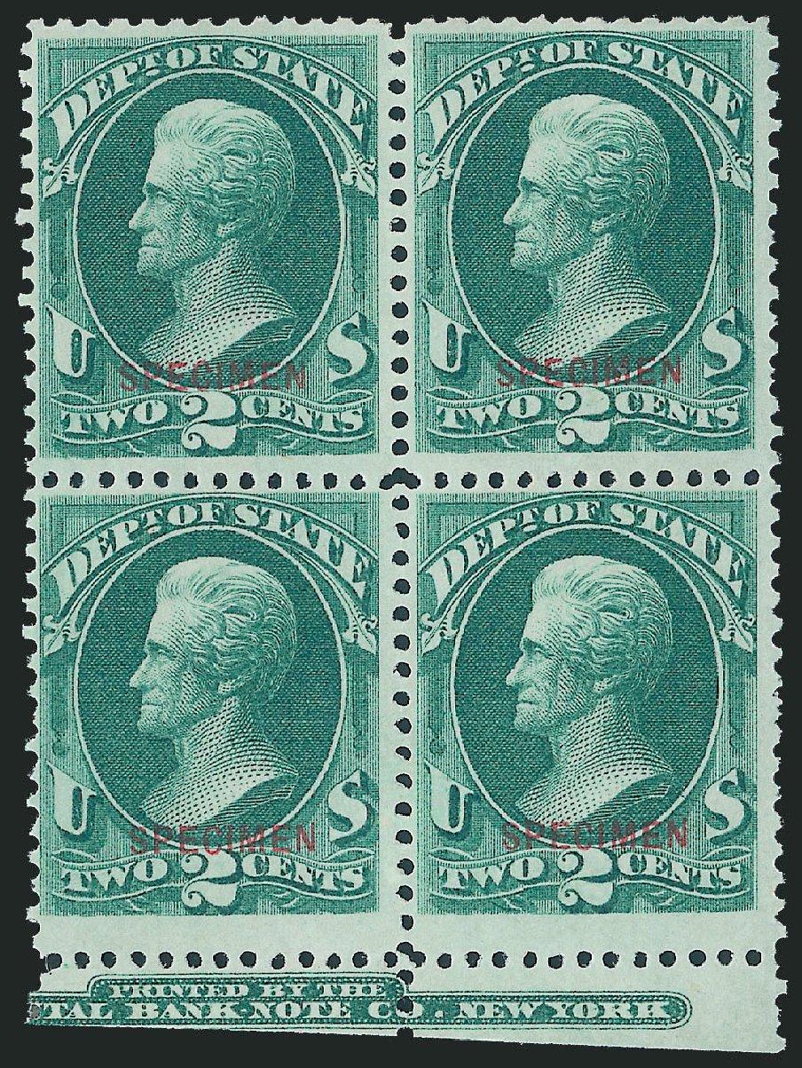 US Stamp Values Scott Catalog #O58 - 1873 2c State Official. Robert Siegel Auction Galleries, Dec 2011, Sale 1017, Lot 990